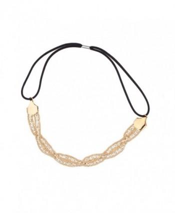 Lux Accessories Pave Crystal Woven Stretch Metal Head Band Headband - CP11WWOJ5BJ