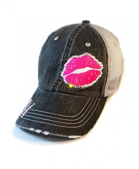Gloss Boss Baseball Hat - Pink Lips - Swarovski Crystal - fitted Cap by Elivata - CN182XEDX9M