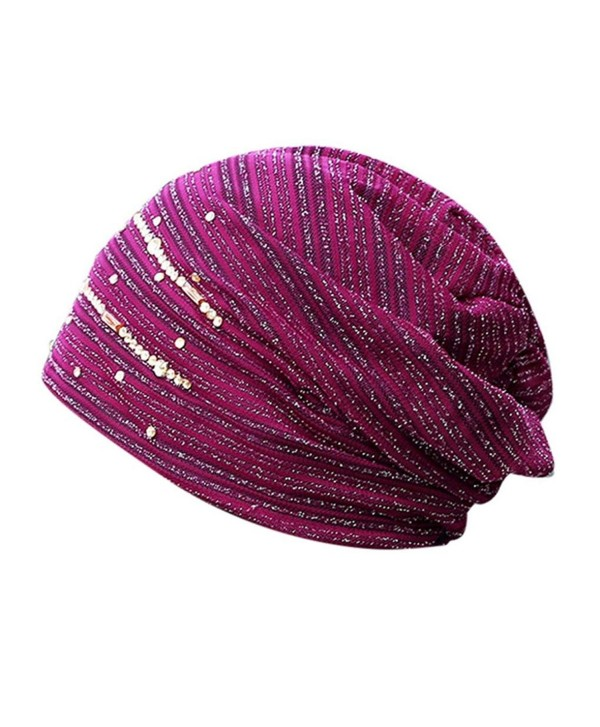 Showking Women Hijab Lace Ninja Underscarf Head Islamic Cover Bonnet Beanie Hat - Purple - CG188KG46KE