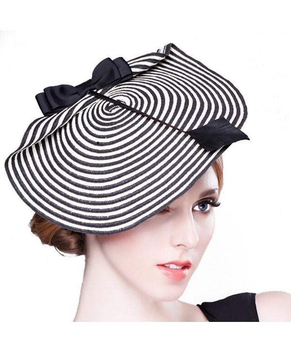 Hibelief Women Sun Hats Arrow Striped Derby Fascinator Hats Wedding Caps - CA12HO1Y6CR