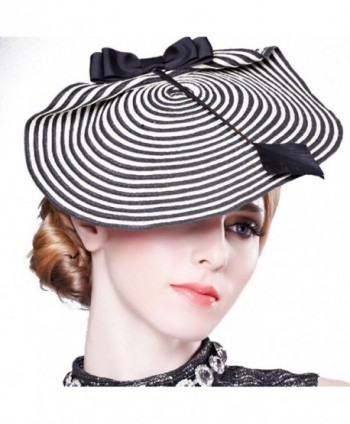 Hibelief Women Striped Fascinator Wedding