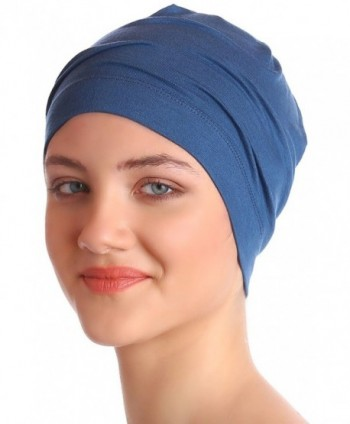 Unisex Cotton Sleep Caps for Cancer- Hair Loss | Sleep Cap for Chemo - Caroline Blue - CI11K2L2D09