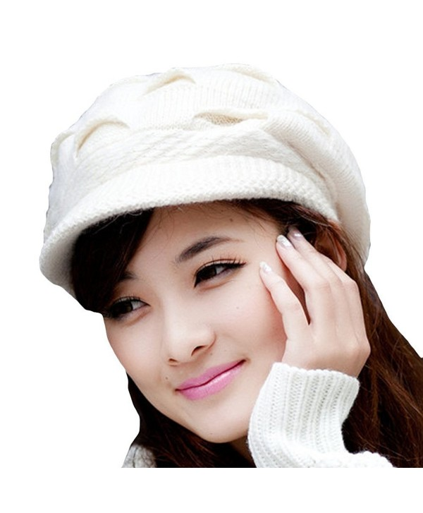 Winter Warm Slouchy Knit Fluffy Beanie Cap Crochet Rib Brim Hat for Women Girls White - CC11PKD3Z3X