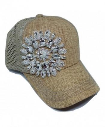 Olive & Pique Women's Big Rhinestone Flower Ball Cap With Net Back - Natural - CI12CC2EHE5