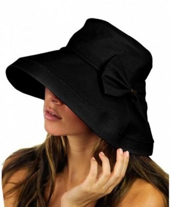 NYFASHION101 Women's Summer Packable Bow Accent Foldable Brim Beach Sun Hat - Black - CF12CU9TJ25