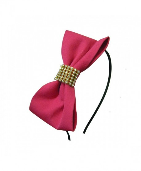 Hot Pink Hard Headband Bow and Diamonds Hair Bands (Motique Accessories) - hot pink - CT11SCAW3G5