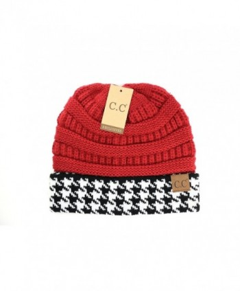 Crane Clothing Co. Women's Houndstooth CC Beanie - Crimson - CI1859OWW4Q