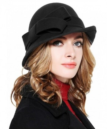 Bellady Women Solid Color Winter Hat 100% Wool Cloche Bucket With Bow Accent - Black - CG12NSJLIL5