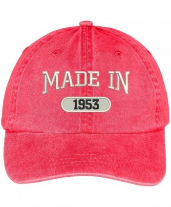 Trendy Apparel Shop 65th Birthday - Made In 1953 Embroidered Low Profile Washed Cotton Baseball Cap - Red - CA12O5QPZTW
