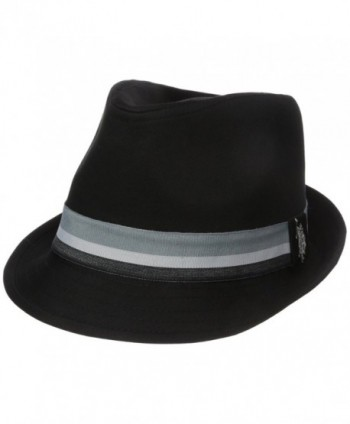 U.S. Polo Assn. Men's Grosgrain Fedora Hat- Stripe Band - Black - CQ182LM9E0Z