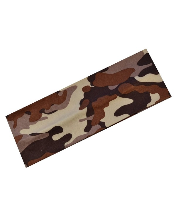 1 Dozen Camouflage Cotton Soft and Stretchy Headbands - Brown - CF11NHQJZ39