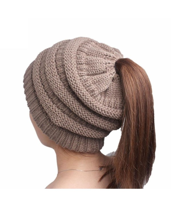 Connia Women Knitting Cancer (TM) Ladies Beanie Turban Head Wrap Cap Pile Cap - Khaki - CV188RNR82A