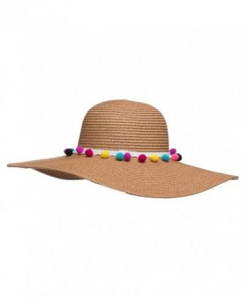 241937bcf27 Pom Pom Multi-Color Floppy Sun Straw Beach Hat - Beige - CI182KAA7T7
