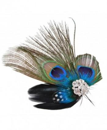 Fascigirl Fascinator Peacock Feather Headdress Wedding Hair Clip Headwear for Women - C9126PFTRK9
