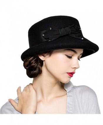 989c4567ae4 Maitose Women s Bow Flowers Wool Felt Bowler Hat - Black - C212MCIFTWX