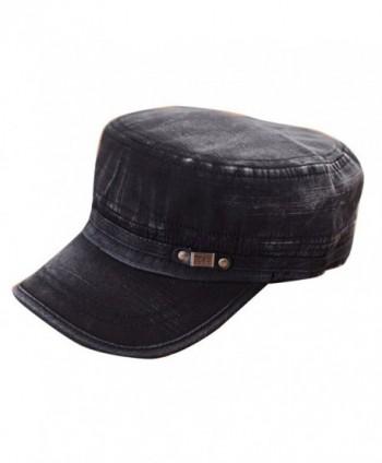 Sunsen Unisex Adjustable Classic Army Plain Retro Hat Cadet Military Cap - C51261AHT5R