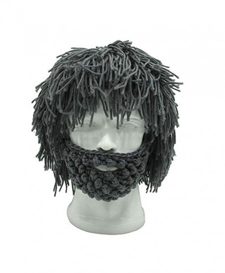 Men's Barbarian Knitted Beard Hats Warm Winter Caps Funny Party Mask Grey - C312O55OIBC
