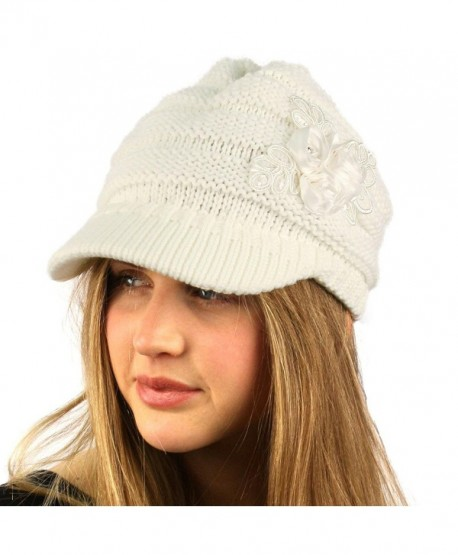 Winter Thick Floral Chunky Stretchy Knit Beanie Skully Visor Jeep Hat Cap - Ivory - CT1274HBCG9