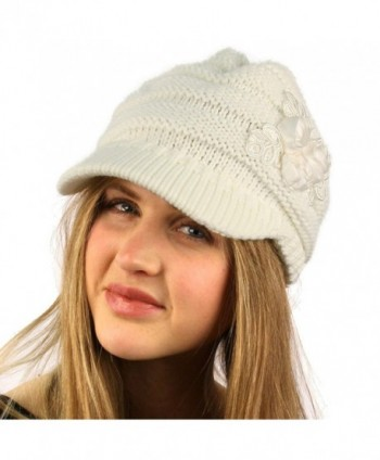 Winter Floral Chunky Stretchy Hat