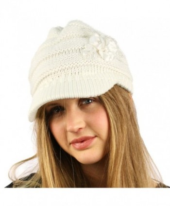 Winter Floral Chunky Stretchy Hat in Women's Skullies & Beanies