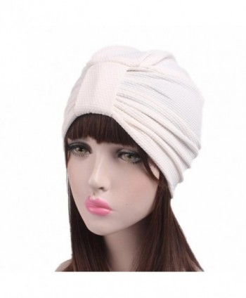 Qingfan Women Solid Pre Tied Yoga Cancer Chemo Hat Beanie Turban Stretch Head Wrap Cap - White - CJ185A3TT0E
