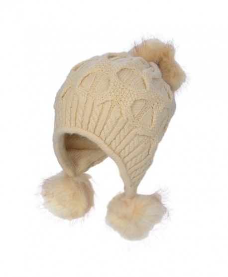 Flammi Women's Winter Knit Pompom Beanie Hat Double-layer Warm Hat - Beige - CG187K750UN