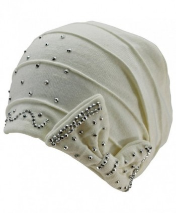 Luxury Divas Jersey Knit Slouchy Beanie Hat With Rhinestone Bow - White - CB11P33LLVX