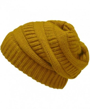NEOSAN Womens Men Knit Winter Stretch Thick Slouch Beanie Hats Chunky Skull Caps - Solid Mustard - CB184YMQG89