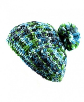 The Hat Depot 700HAT-50 Multi Color Knit Beret Tam Hat with Pom Pom - Blue/Green - CT128LYVVJH