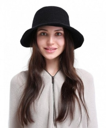 La Vogue Women's Vintage Style Autumn Winter Bucket Hat With Bowknot - Black - CT12N1BB3KV