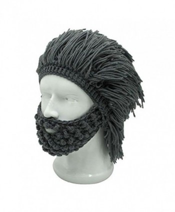 Men s Barbarian Knitted Beard Hats Warm Winter Caps Funny Party Mask ... db4b38f1b51