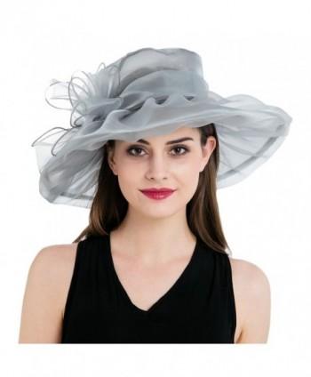 8ec4ed5b686a7 Dantiya Women s Colorful Organza Kentucky Wide Brim Bow Derby Sun Hat -  Silver - C612GSWKQBN