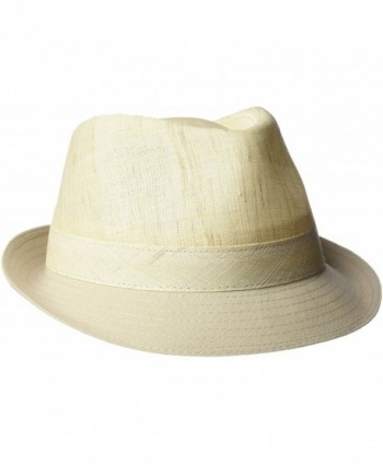 Henschel Men's Linen Blend Fedora With Leather Side Tab - Natural - CS12H9AKXMJ
