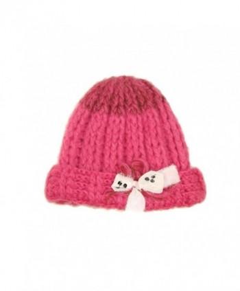 Ribbon Bow Chunky Crafty Winter Hat (One Size- Lipstick Combo) - CB11GCPUF8B