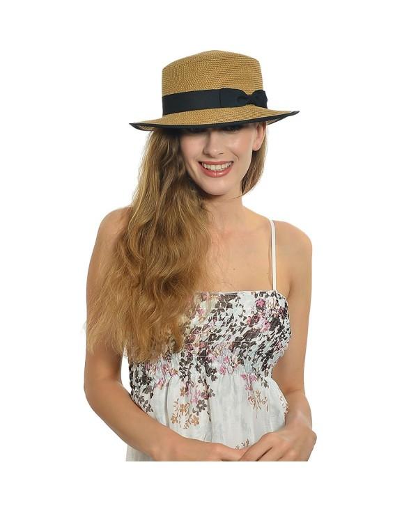 Fanny Straw Flat Sun Hat with Bow F239 - Brown - C711WHG8LPN