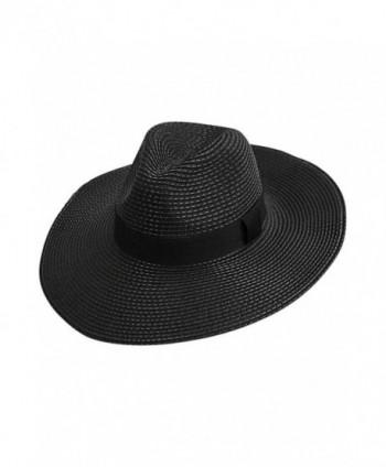 Luxury Divas Woven Straw Wide Brim Panama Style Sun Hat - Black - C612FFTJNIR