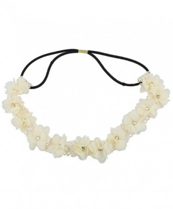 Lux Accessories White Floral Flower Crystal Lace Stretch Headband - CA1290XYWCB