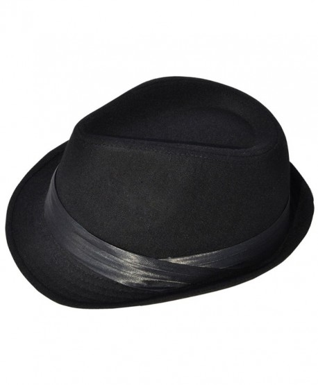 c2c8f7b345b Livingston Men Women s Pin Striped Short Brim Gangster Fedora Hat - Black2  - CJ1872KWXQ7