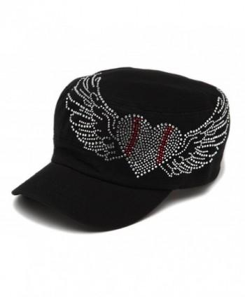 Spirit Caps Women's Baseball Clear Stone Heart Adjustable Cadet Cap - Black - CI11LK53PUN