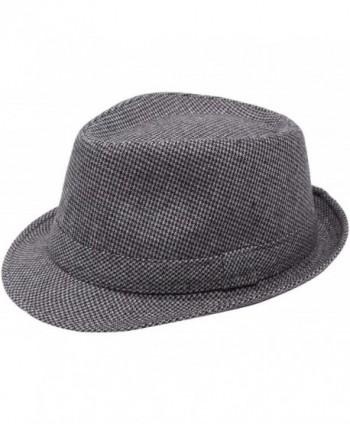 Simplicity Unisex Timelessly Classic Manhattan Fedora Hat - Grey/Black2 - CM11N5TZ4OR