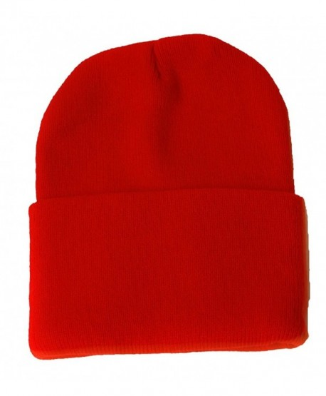 Blank Long Cuff Beanie - Red - C3112P9TR19