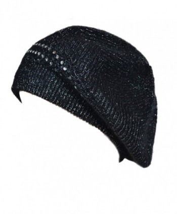 Women Black Rhinestone Rabbit Fur Knit Beret - CM11OEA58T1
