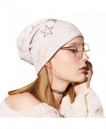 SOMALER Womens Lightweight Slouchy Beanie For Women Knit Hat Wool Skully Cap - White - CX186ER7X6R
