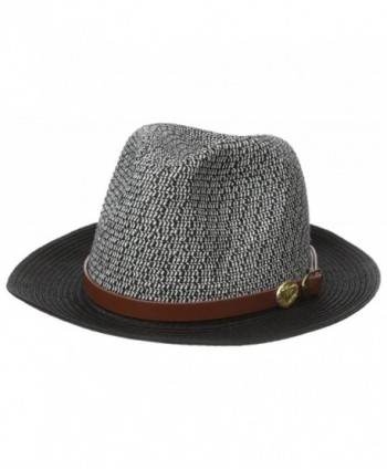 05ee6d8713b La Fiorentina Women s Straw Brim Hat With Leather Strap - Black White -  C511VMS3XUP