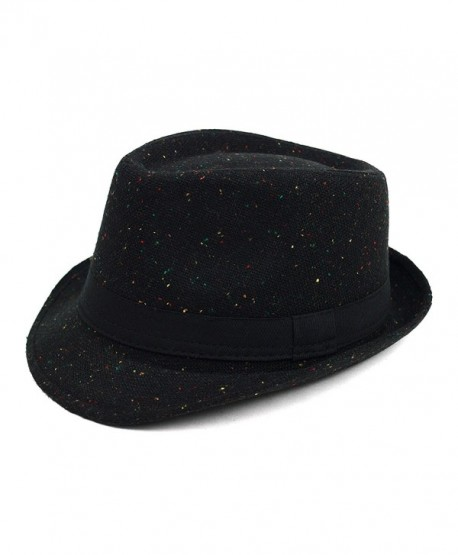 Men's Speckled Fall/ Winter Fedora - Black - C11876DLSA8