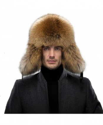 QUEENFUR Men's Fur Hat - Winter Real Raccoon Fur Cap Fox Fur Genuine Leather Russia Aviator Hats - A-raccoon Fur - C212MBDJGS7