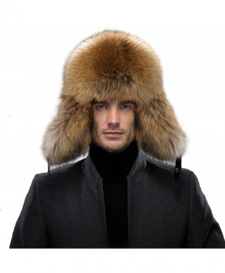 989cea9757594 QUEENFUR Men s Fur Hat - Winter Real Raccoon Fur Cap Fox Fur Genuine  Leather Russia Aviator