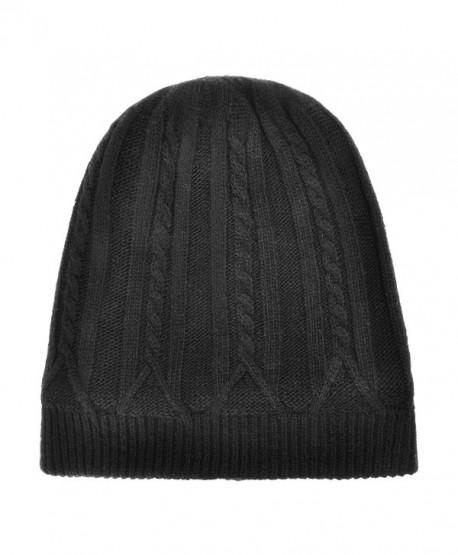 Unisex Winter Warm Cable Knit Beanie Hat Skull Cap with Fleece Lining - Black - CO186XRZL2N