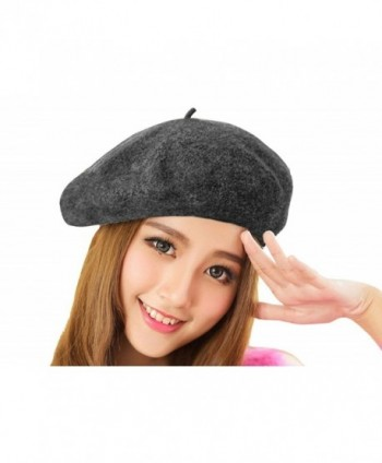 Chic 100% Wool Winter Warm Classic French Beret Beanie Hat Cap for Women Girls - Solid Color - Grey - C212N4ZL0I2