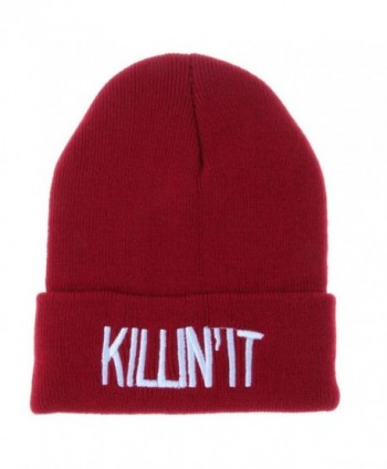 Tuscom Unisex Women Men Hat Warm Winter Knit Cap Hip-hop Beanie Hats - Wine Red - CL12NB6CKZ7